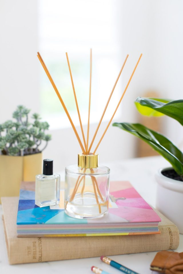 photo of a diy essential oil diffuser with reeds