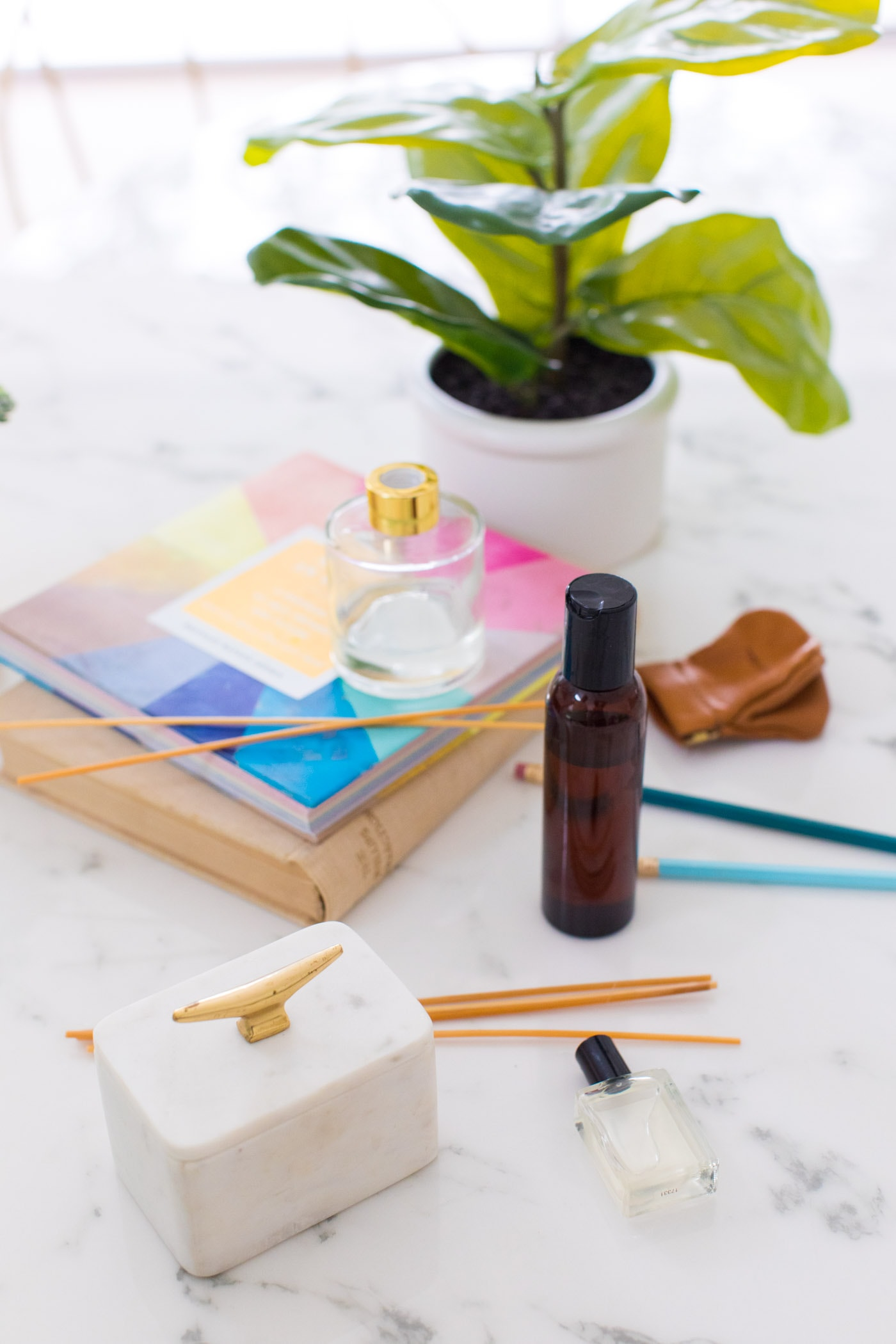 photo of supplies to make a reed diffuser