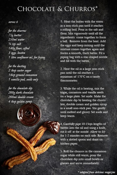 food photography and chocolate & churro recipe