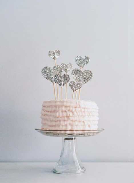 Diy Glitter Hearts Cake Topper