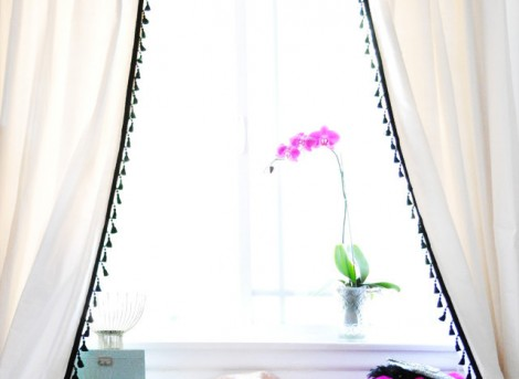 DIY modern fringed curtains