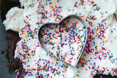 heart shape cake batter bark recipe