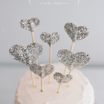 DIY // Glitter Hearts Cake Topper