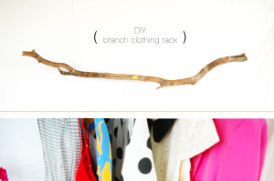 DIY branch clothing rack rustic