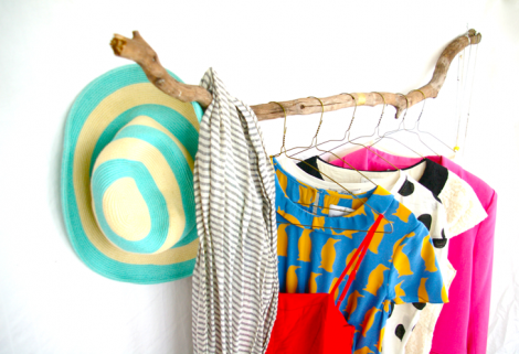 DIY branch clothing rack