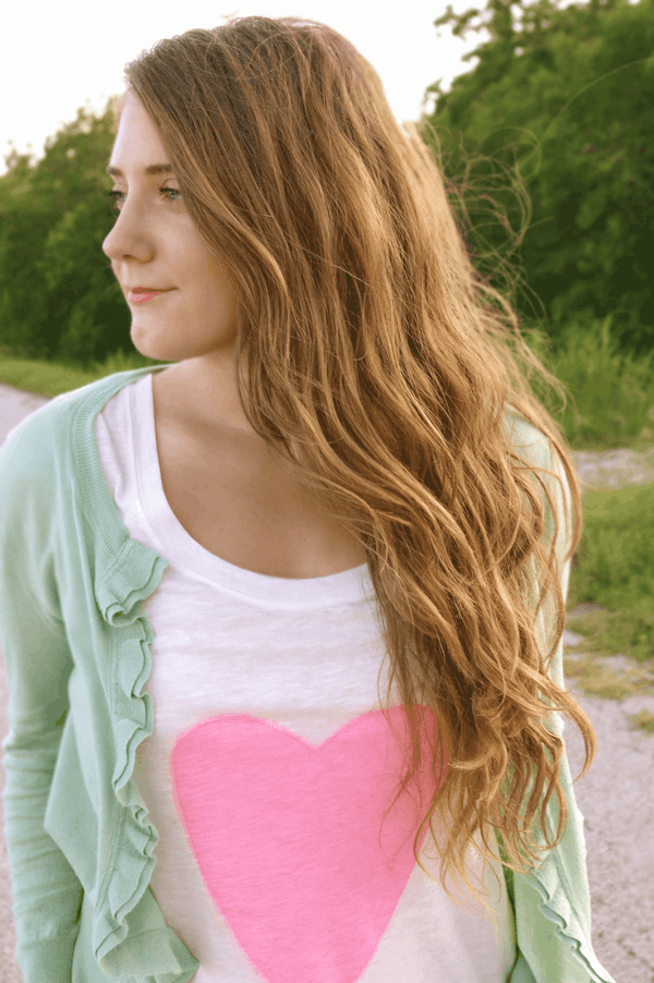 DIY simple graphic heart tee