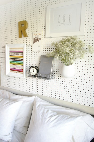 DIY Pegboard Headboard by Ashley Rose of Sugar & Cloth, a top lifestyle blog in Houston, Texas