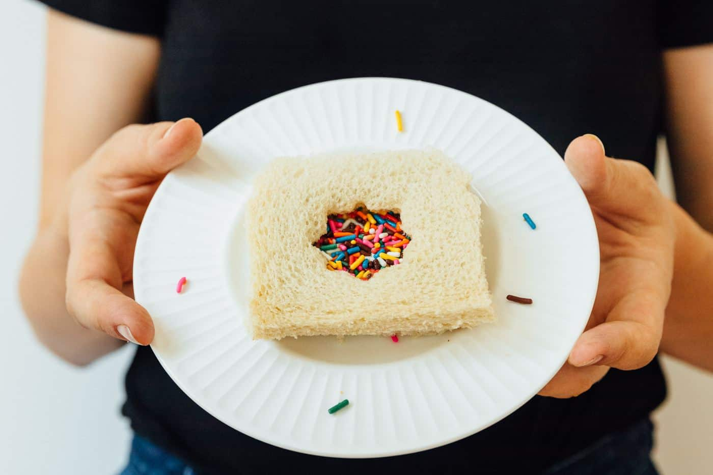 photo of an easy fairy bread sandwich recipe by top Houston lifestyle blogger Ashley Rose of Sugar & Cloth