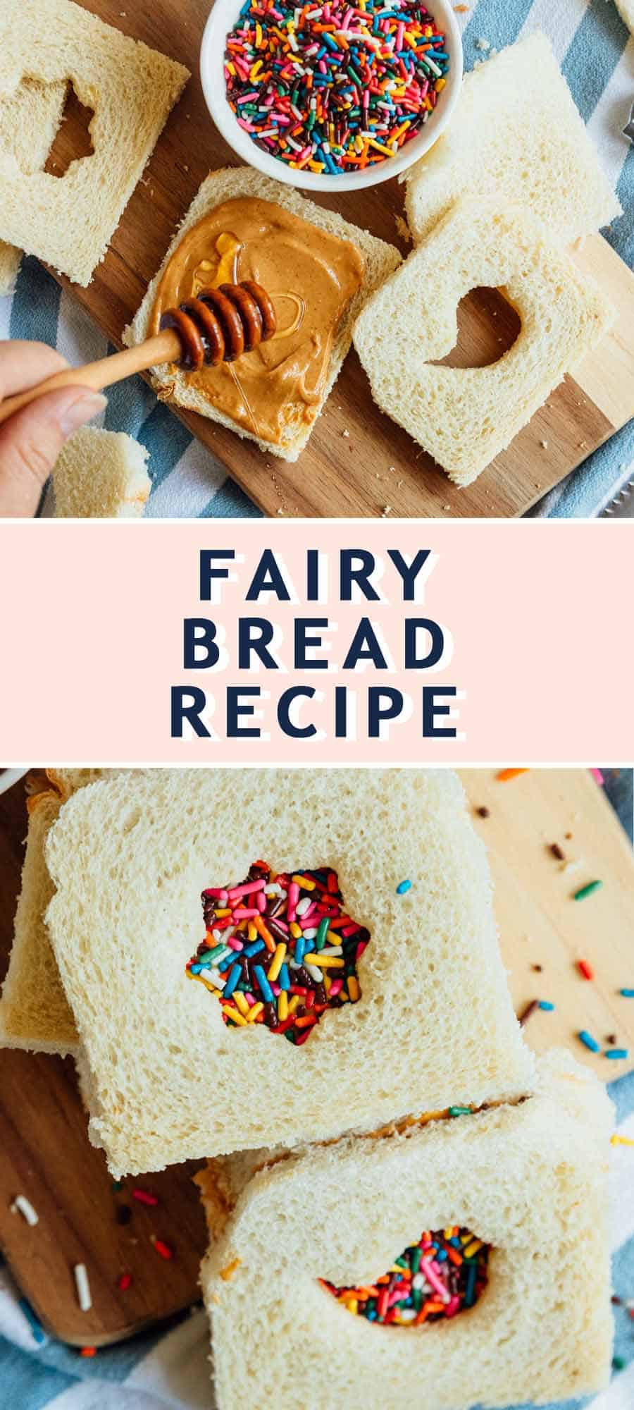 photo of the recipe card on how to make fairy bread by top Houston lifestyle blogger Ashley Rose of Sugar & Cloth