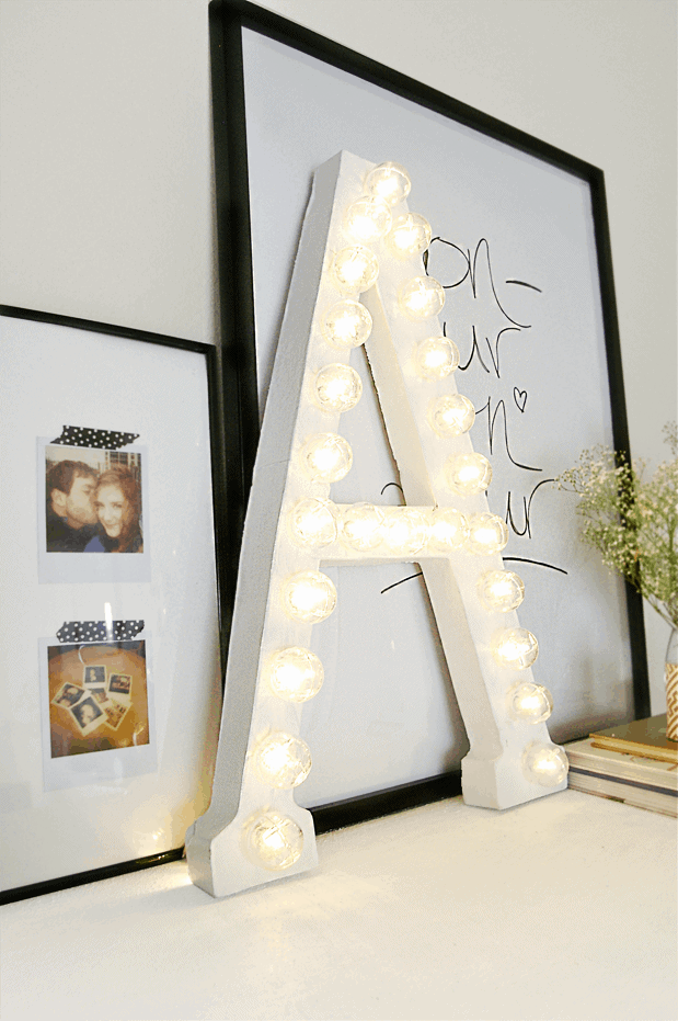 simple DIY marquee light up letter