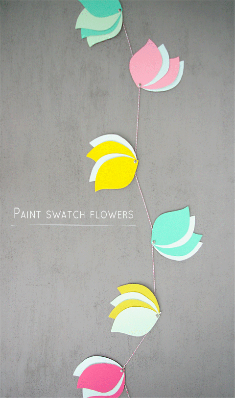 DIY Paint Sample Flowers by Ashley Rose of Sugar & Cloth, a lifestyle blog in Houston, TX