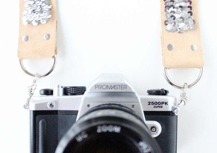 DIY no sew sequin camera strap by sugar and cloth