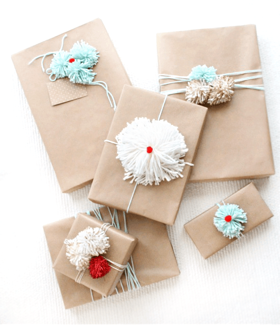 Diy pom pom gift wrap ideas sugar cloth diy for How to wrap presents with wrapping paper