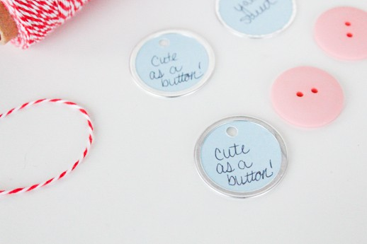 DIY cute as a button valentine