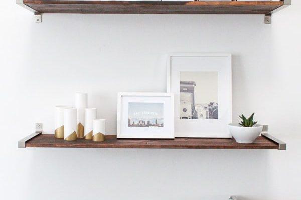 DIY distressed wood shelves