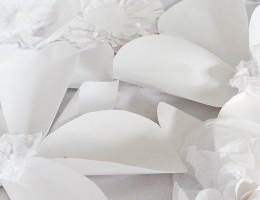 DIY paper flower backdrop by Sugar & Cloth