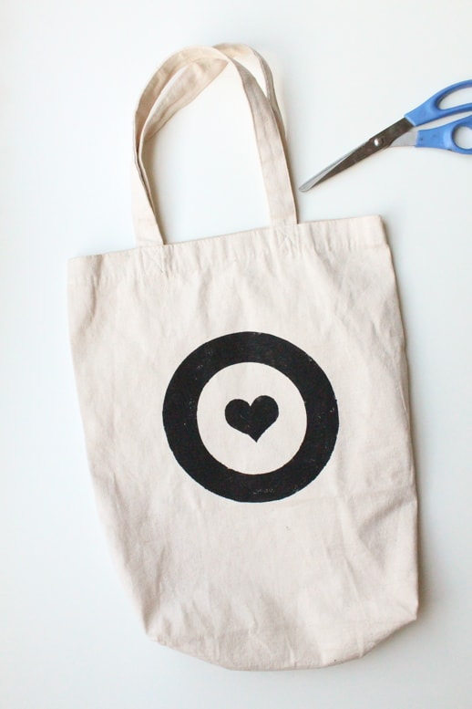 DIY leather handled tote bag