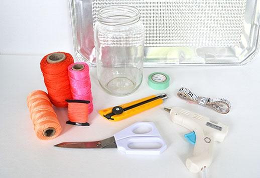 DIY neon macrame jar