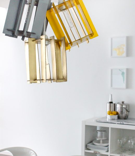 DIY recycled cardboard pendant light by Sugar & Cloth