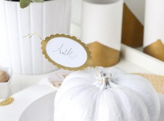 DIY Simple pumpkin leaf place cards - sugar and cloth