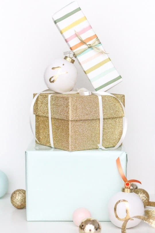 DIY Monogrammed Ornament Gift Tags - sugar and cloth