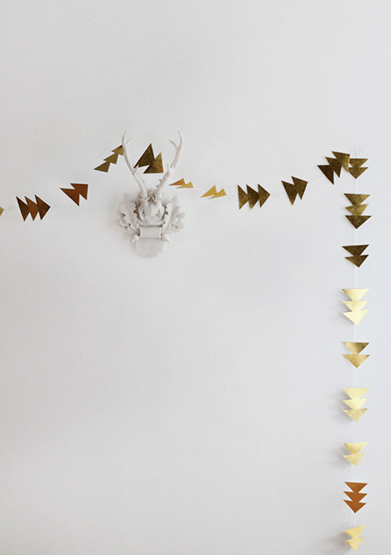 Merry and very bright holiday DIY's - Sugar & Cloth - DIY gold triangle garland
