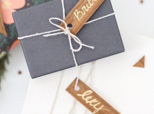 DIY Wood Veneer Confetti and Gift Tag Flags - Sugar and Cloth