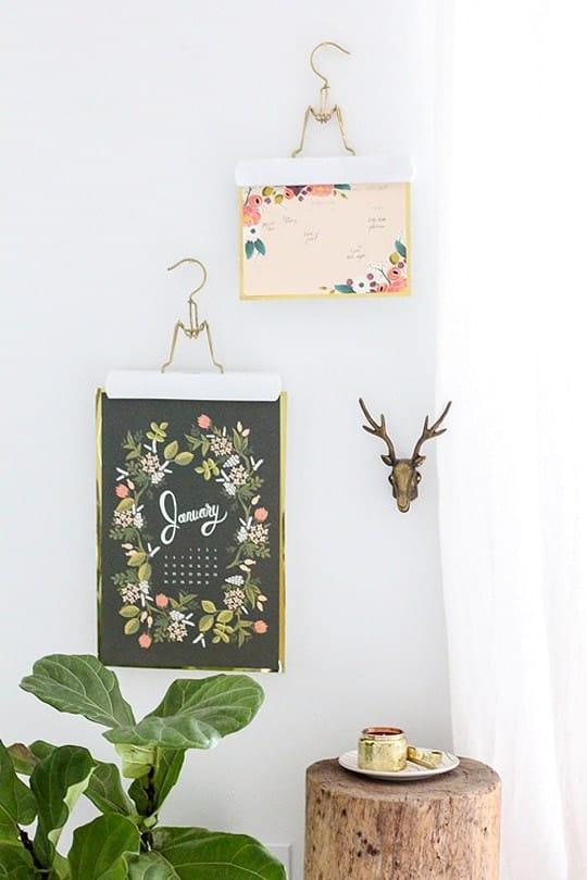 DIY Metallic Calendar Wall Hangs - sugar and cloth