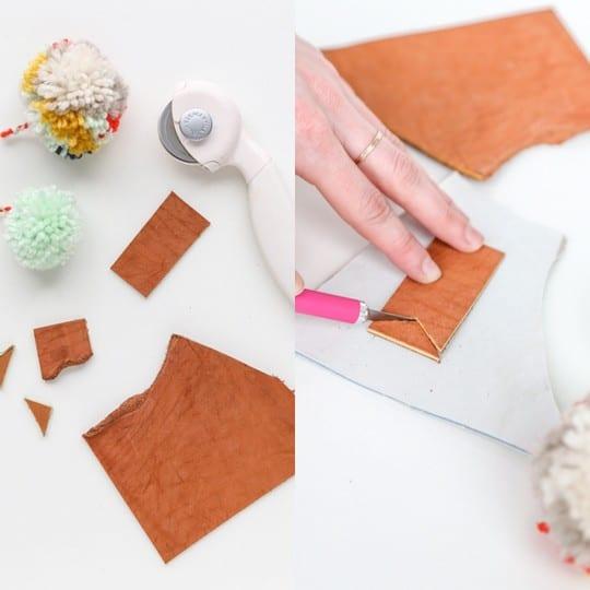 DIY pom pom and leather luggage tags