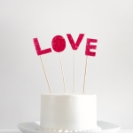DIY Fringed love cake topper