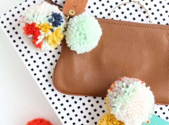 DIY Pom Pom Leather Luggage Tags - Sugar and Cloth