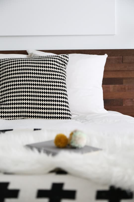 close up - Easy Ikea Hack DIY Wooden Headboard With Stikwood by top houston blogger Ashley Rose of Sugar and cloth