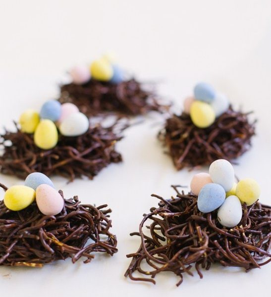 photo of a group of chocolate birds nest cookies