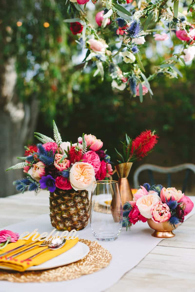 floral tablescape in Palm Springs