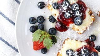 Grilled Pound Cake with Sweetened Mascarpone & Berries