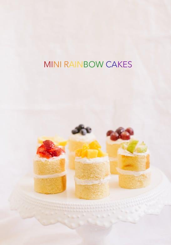 mini rainbow cake recipe | sugarandcloth.com