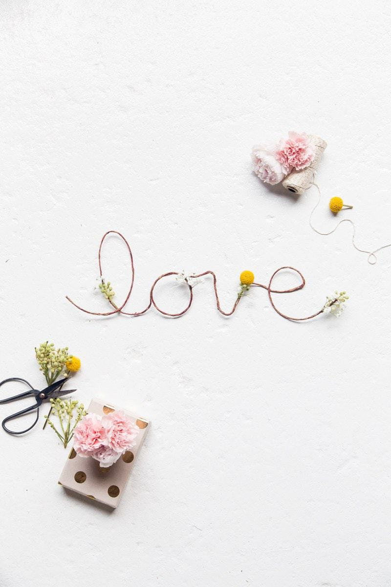 DIY Fresh Flower Love Sign - Sugar and Cloth