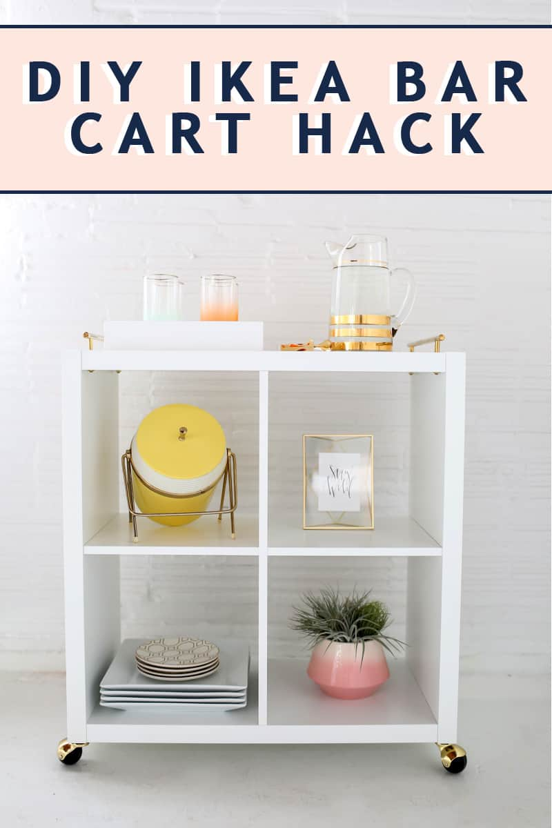photo of a diy ikea bar cart hack by top Houston lifestyle blogger Ashley Rose of Sugar & Cloth