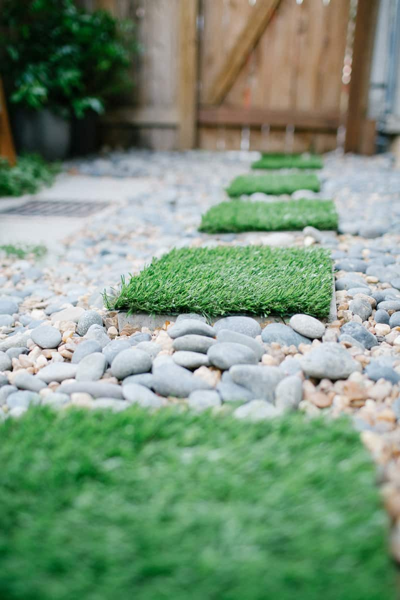 DIY faux grass stepping stones