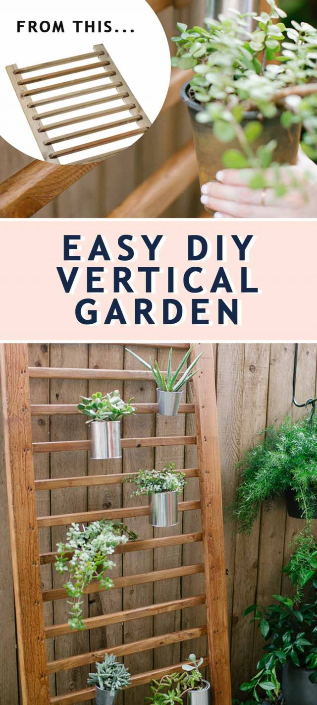 two photos together of a backyard area with a wooden handrail as a diy vertical garden
