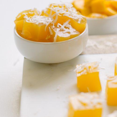 mango jello bites | sugarandcloth.com