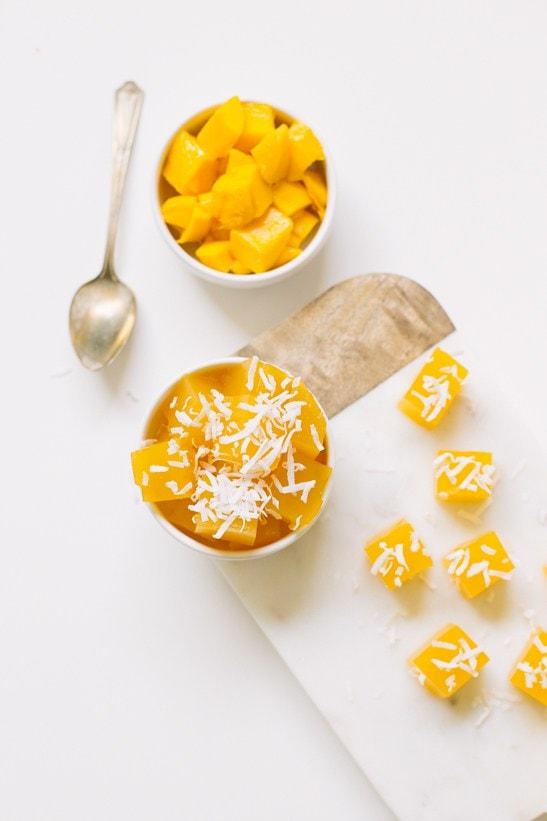 mango jello bites - sugar and cloth