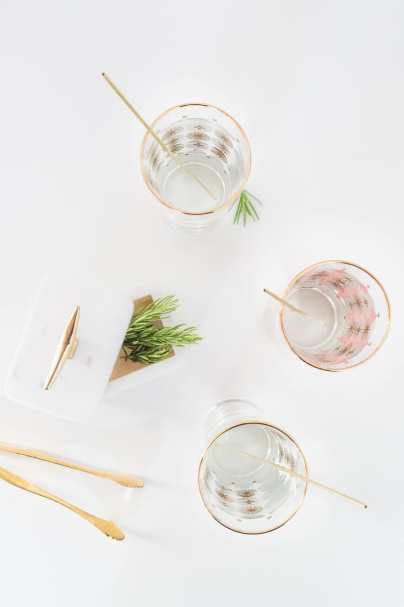 DIY reusable gold drink stirrers | sugarandcloth.com