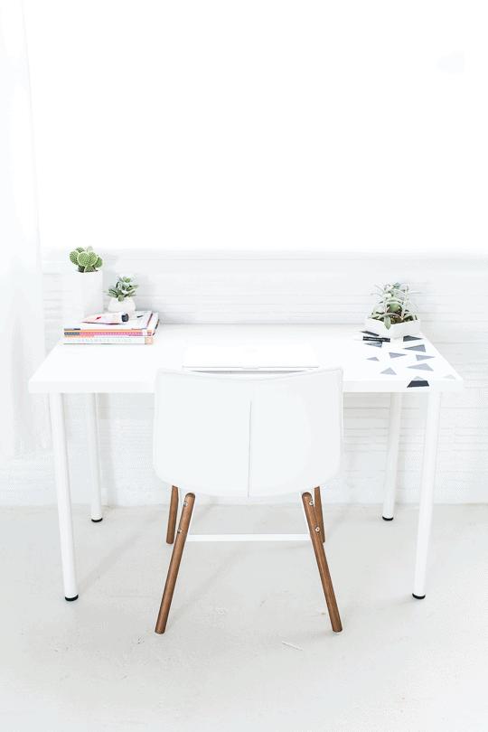 DIY geometric chalkboard notes desktop | sugarandcloth.com