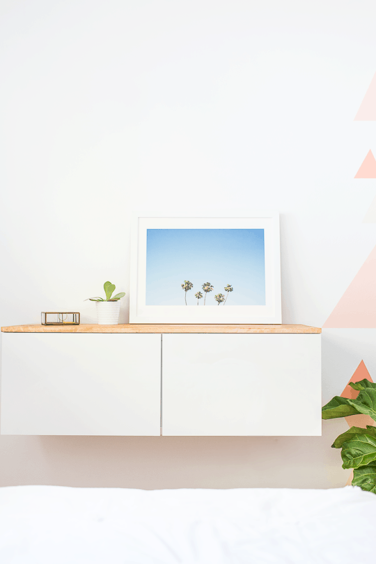 DIY Ikea Hack Floating Credenza by Top Houston Lifestyle Blogger Ashley Rose | sugarandcloth.com #diy #credenza #homediy #homedecor #ikea #floatingcredenza #ikea #ikeahack #hack #modern #diydecor