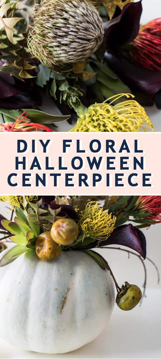 photo of how to make a DIY Floral Halloween Centerpiece by top Houston lifestyle blogger Ashley Rose of Sugar & Cloth