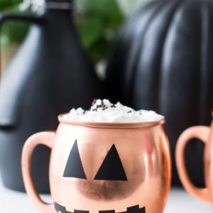 photo of a DIY halloween decal copper mug
