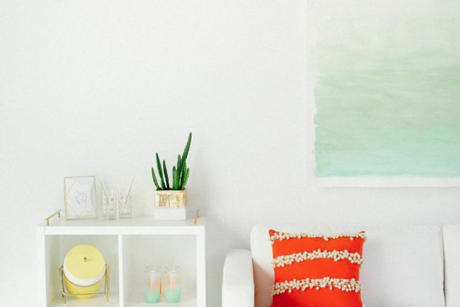 DIY watercolor wall art | sugarandcloth.com
