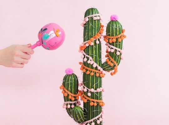 photo of a noise maker with a DIY cactus christmas tree by sugar and cloth