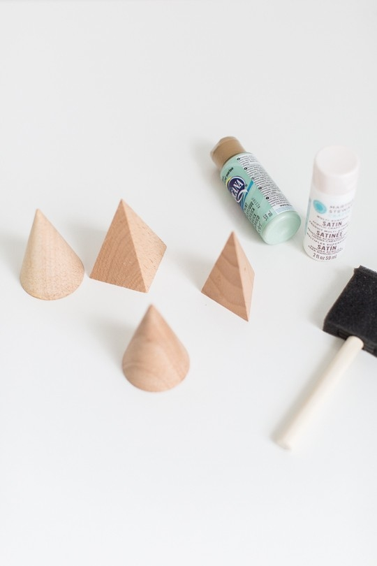 photo of tutorial supplies for wooden shape trees